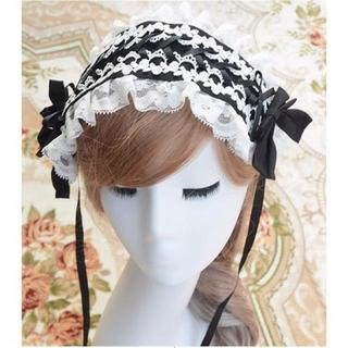 新品★ロリータさんに◎黒X白編み上げデザインヘッドドレス/カチューシャ(その他)
