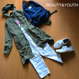 BEAUTY&YOUTH UNITED ARROWS - BEAUTY&YOUTH ナイロン フードコート カーキ F 専用ポーチ付き