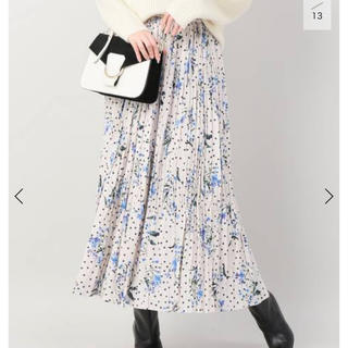 IENA - イエナ iena  ドットフラワープリーツスカート 花柄 ホワイト