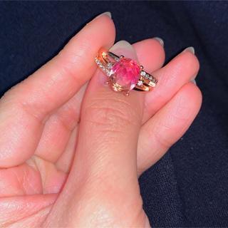 ピンクゴールド バイカラー 宝石リング(リング(指輪))