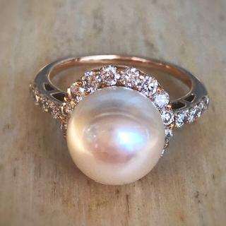 希少 あこや真珠 k18PG ダイヤモンドリング