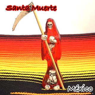 何でも叶える☆ 死の聖人 サンタムエルテ メキシコ お守り魔術 レッドカラー(置物)