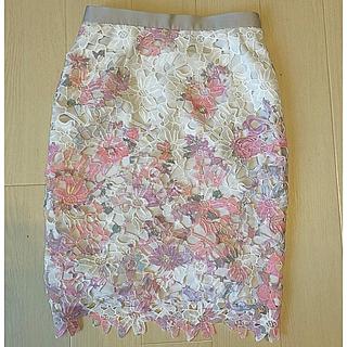 JUSGLITTY - 定価19440円  ジャスグリッティー  フラワーレースプリント スカート