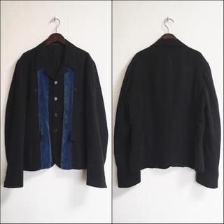 Yohji Yamamoto - ヨウジヤマモトプールオム コバルトブルーベロア切替ウールギャバシャツコート 黒