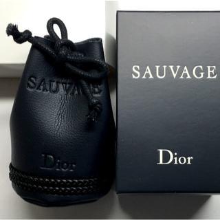 Dior - Dior ソヴァージュ ブラック レザー調 ミニ ポーチ アクセサリー ケース