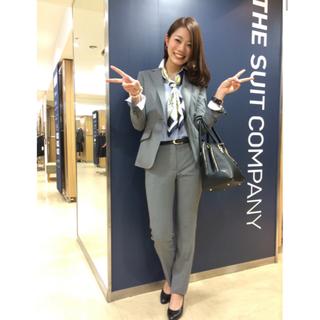 THE SUIT COMPANY - 美品 春夏 スーツカンパニー グレー パンツスーツ 36 38