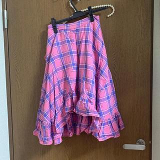 スピンズ(SPINNS)のピンクチェックスカート(ひざ丈スカート)