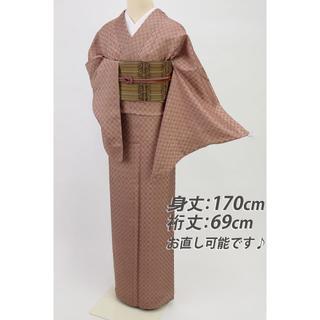 《長尺■ほていや誂製■赤茶色色無地■花織り幾何学地紋◆袷正絹着物◆IC3-2》