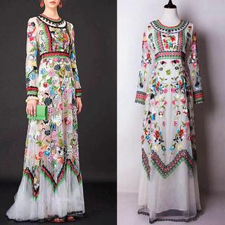 GRACE CONTINENTAL - ◆大きいサイズ◆デザイナー製!花柄刺繍レースドレス■グッチ シャネル フェンディ