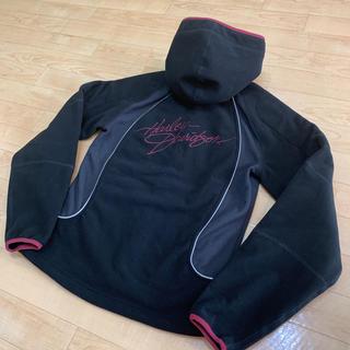 ハーレーダビッドソン(Harley Davidson)のハーレーダビッドソン フリース パーカー ジャケット 黒 XS 送料込 LOGO(ブルゾン)
