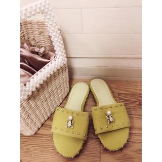イエローブーツ(Yellow boots)のイエロー/YELLO 2wayカエルブローチサンダル 22.5-23cm(サンダル)
