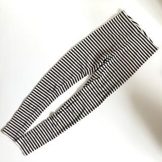 エイチアンドエム(H&M)のH&M ボーダー レギンス ベージュ ブラック 黒 ハイウエスト 10分丈 XS(レギンス/スパッツ)