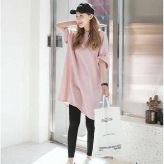 【XL/ピンク】ビックシルエット半袖Tシャツ(Tシャツ(長袖/七分))