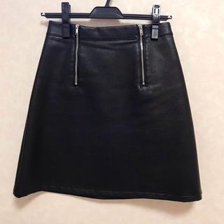 ザラ(ZARA)のZARA ザラ レザー調Aラインスカート(ひざ丈スカート)