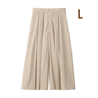 MUJI (無印良品) - 無印良品   ストレッチ高密度織りはかまパンツ  婦人L・ライトべジ-ュ