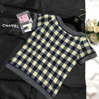 CHANEL - CHANEL 極美品♡ココマーク刺繍 カシミヤ トップス  ネイビー アイボリー