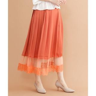 merlot - 新品 merlot plus シアーレースプリーツスカート フレアスカート