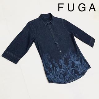 FUGA - FUGA フーガ 花柄 七分袖 デニム シャツ