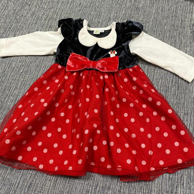 Disney(ディズニー)のミニーマウス ワンピース キッズ/ベビー/マタニティのベビー服(~85cm)(ワンピース)の商品写真