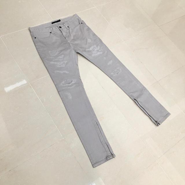 FUGA(フーガ)のFUGA フーガ クラッシュ加工リメイク袖zipストレッチスキニーデニム メンズのパンツ(デニム/ジーンズ)の商品写真