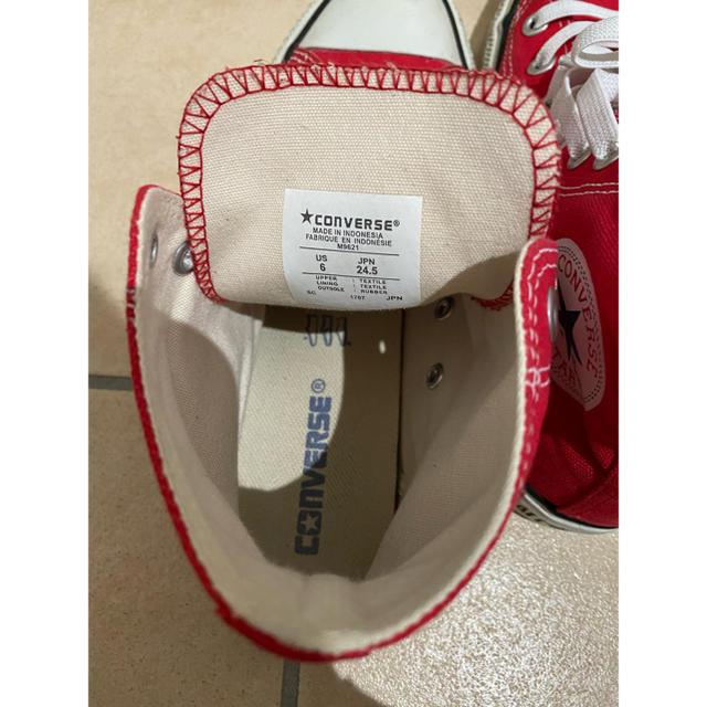 CONVERSE(コンバース)の美品★大人気★コンバース★ハイカットスニーカー★US6★24.5cm★レッド レディースの靴/シューズ(スニーカー)の商品写真
