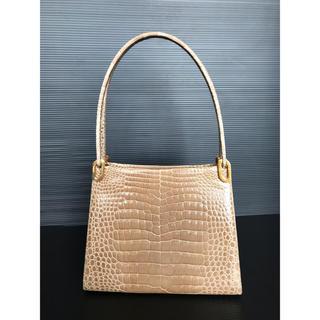 Crocodile - 美品 リアル シャイン クロコダイル ハンドバッグ がま口バッグ ベージュ