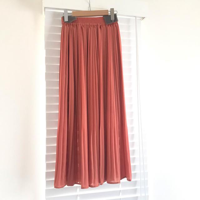 ViS(ヴィス)の新品タグ付き✴︎ViSプリーツロングスカート オレンジ レディースのスカート(ロングスカート)の商品写真