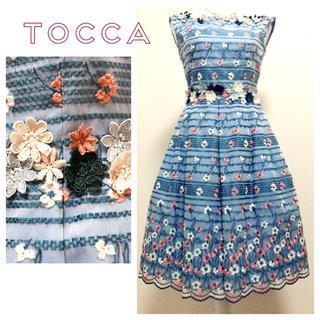 トッカ(TOCCA)のTOCCA❀*圧巻の総刺繍✨ゴールドレーベル✨フラワーワンピース✧*。(ひざ丈ワンピース)