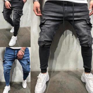 新品 ジョガーパンツ ポケット付き デニム テーパードパンツ ボトムス スキニー(デニム/ジーンズ)