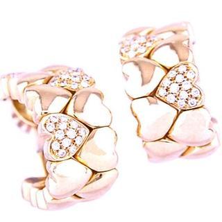 カルティエ(Cartier)のCARTIER カルティエ ダブル ハート ダイヤモンド ピアス K18 YG(ピアス)