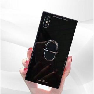 iPhoneケース7/8 スクエア型スタンドリング付き ブラック(iPhoneケース)