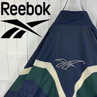 リーボック(Reebok)のリーボック バックロゴ マルチカラー 旧タグ ゆるだぼ 90s ナイロン 可愛い(ナイロンジャケット)