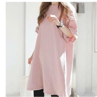 ★大人気★【XL/ピンク】Tシャツ ビックシルエット ドロップショルダー(ミニワンピース)