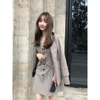 韓国 ファッション レディース セットアップ チェック ジャケット
