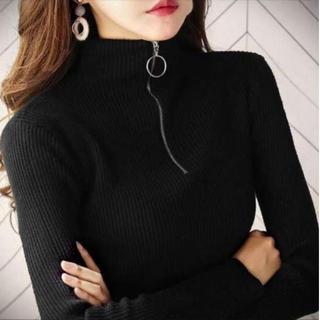 限定SALE 韓国ファッション♡ ハイネック フロントジップ リブニット(シャツ/ブラウス(長袖/七分))