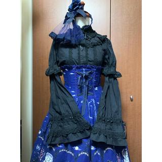 アリスアンドザパイレーツ(ALICE and the PIRATES)のA&P 黒ネコと魔女と林檎の樹柄コルセットスカートコーデセット(ひざ丈スカート)