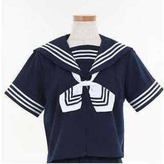 セーラー服 半袖 紺色 上着のみ コスプレ 本格制服 男女兼用 白 リボン(衣装)