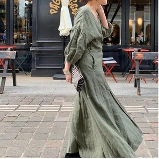 L'Appartement DEUXIEME CLASSE - 新品■Linen Madam Dress■カーキ■アパルトモン