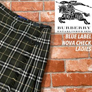 BURBERRY BLUE LABEL - 【美品】バーバリー ブルーレーベル ノバチェック キルト ミニスカート