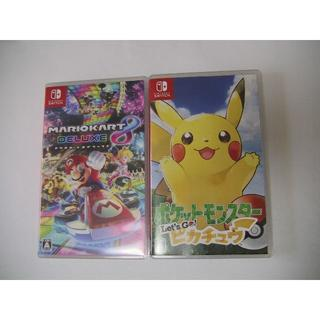ニンテンドースイッチ(Nintendo Switch)のマリオカート8デラックス+ポケットモンスター Let`s Go ピカチュウ 美品(家庭用ゲームソフト)