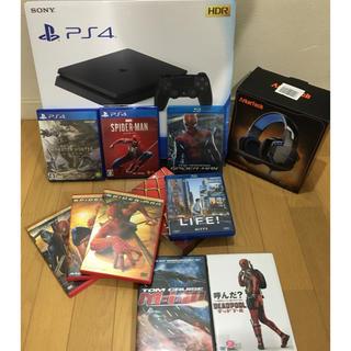 PlayStation4 - PS4 本体 美品 使用回数→数回 スパイダーマン モンハンワールド 多数おまけ