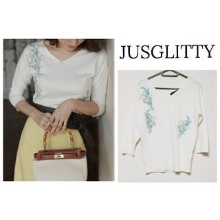 JUSGLITTY - 【JUSGLITTY】刺繍  春 ニット