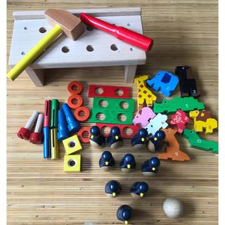 MUJI (無印良品) - 木のおもちゃ☆3種類☆まとめ売り☆大工さん☆ボーリング☆ブロック☆