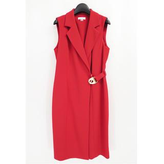 Calvin Klein - カルバンクライン ジョーゼット ラップ ドレス ワンピース ジレ レッド