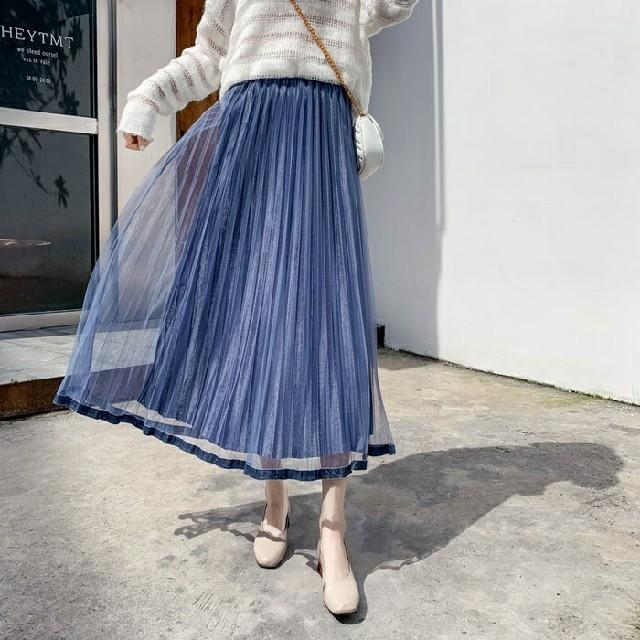 dholic(ディーホリック)の*透け*シースルー重ね/スカート レディースのスカート(ロングスカート)の商品写真