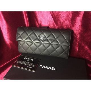 CHANEL - シャネル CHANEL マトラッセ 長財布 羊革 ブラック 美品