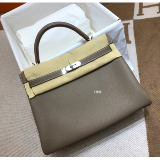 Hermes - エトープKellyブラックケリー28内縫いシルバーハンドバッグ