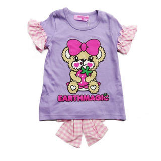 EARTHMAGIC - 13.ギンガムリボンTシャツ