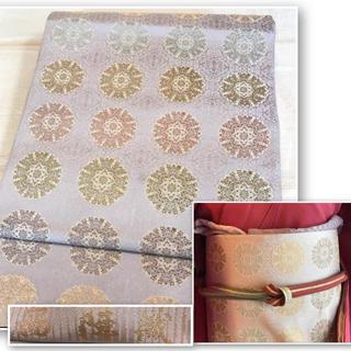 西陣織 上品な薄紫ベースの花丸紋 正統派 袋帯