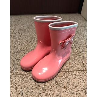 女の子 リボン 長靴 21cm ピンク レインブーツ